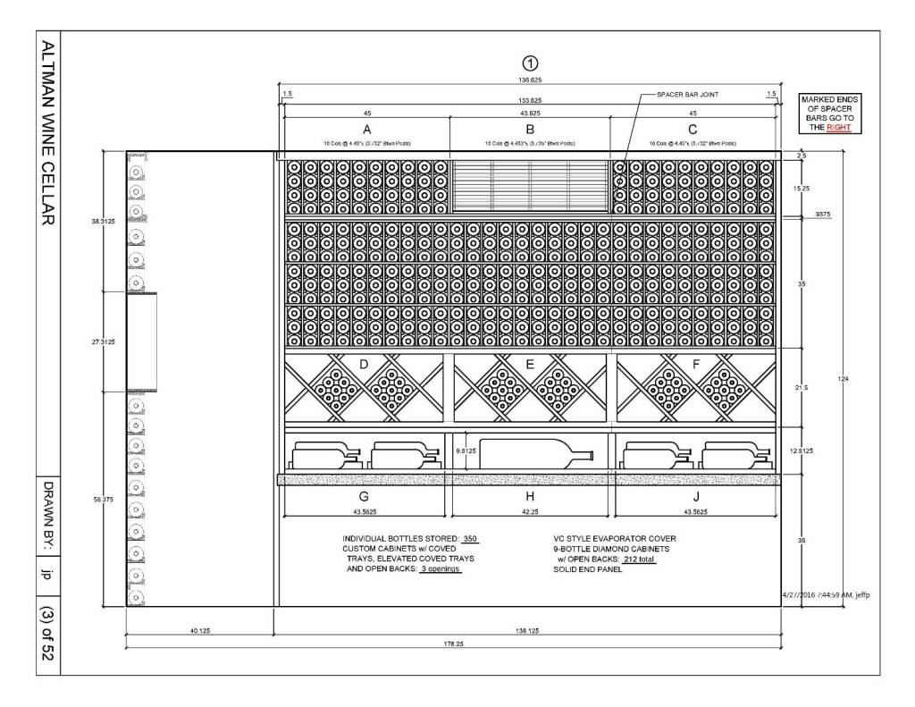 Custom Wine Cellar Drawing San Francisco_Elevation 1