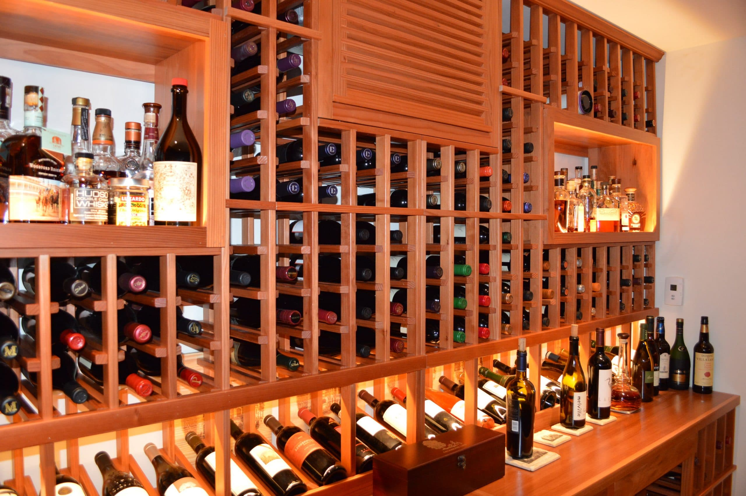 San francisco home custom wine cellar with redwood racking - Types of beautiful wine racks for your home ...