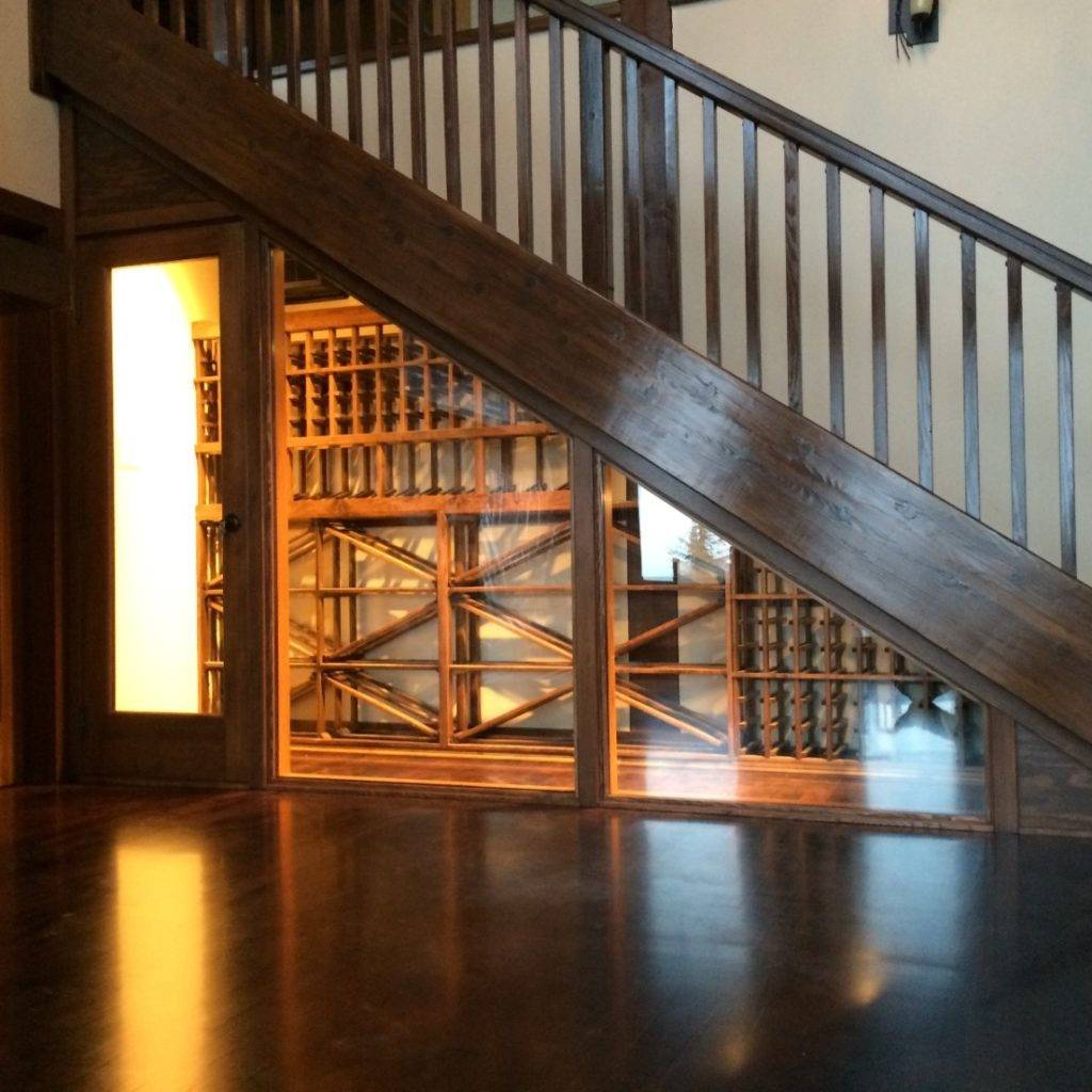 Overall View of Vancouver Custom Wine Cellar Under Stairway
