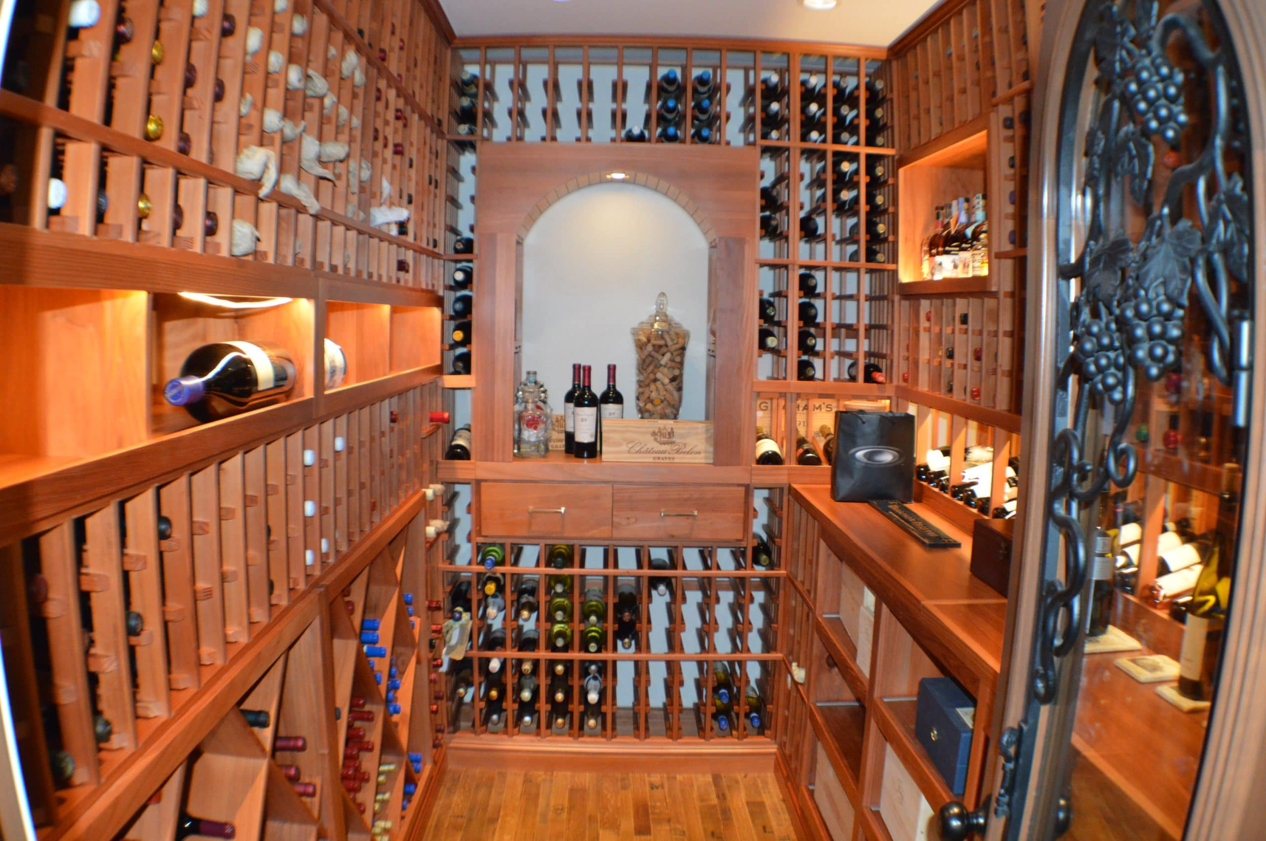San francisco home custom wine cellar with redwood racking for In home wine cellar