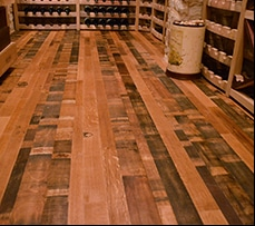 See more images from this wine cellar and tasting room project constructed with wine barrel flooring
