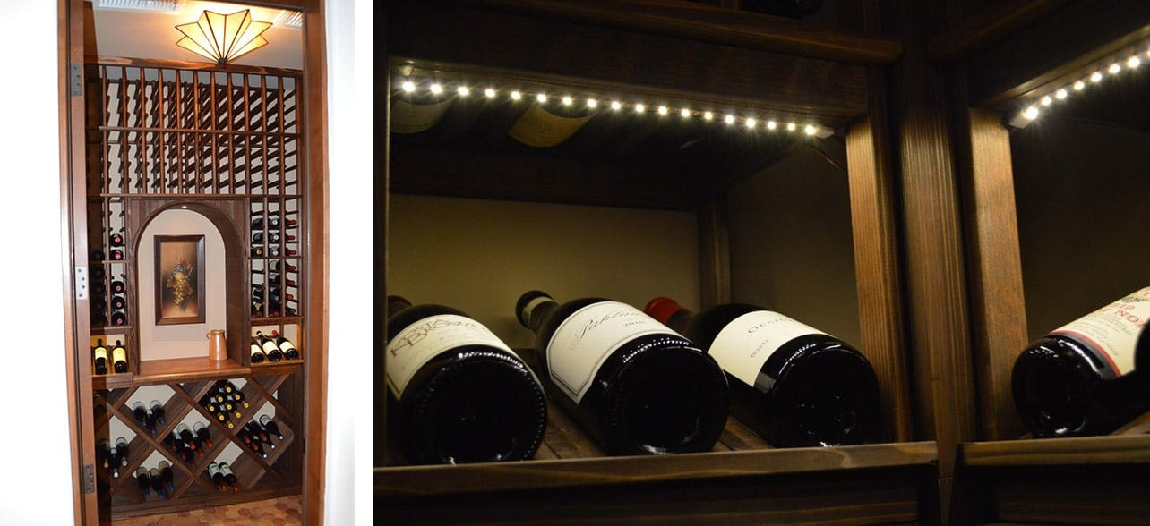 Contractors convert a closet into a custom wine cellar in Turn closet into wine cellar
