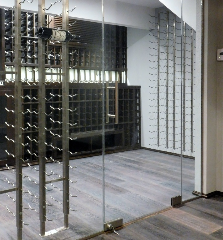 Modern chic home wine cellar designed by san francisco for Building wine racks for cellar