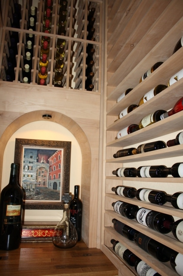 tiny closet turned into a fabulous wine cellar. Black Bedroom Furniture Sets. Home Design Ideas