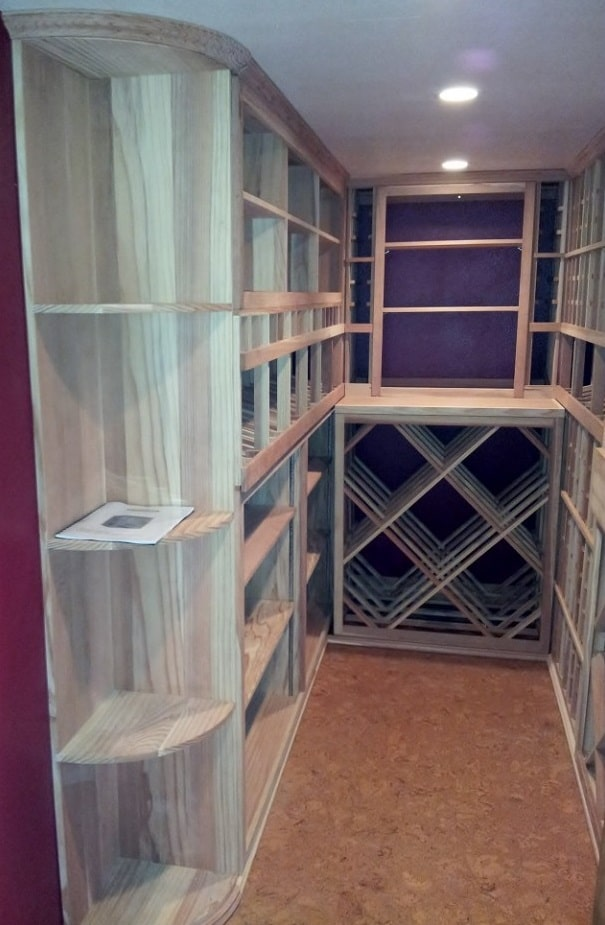Wooden wine racks custom wine cellar garage custom wine for Garage wine cellar