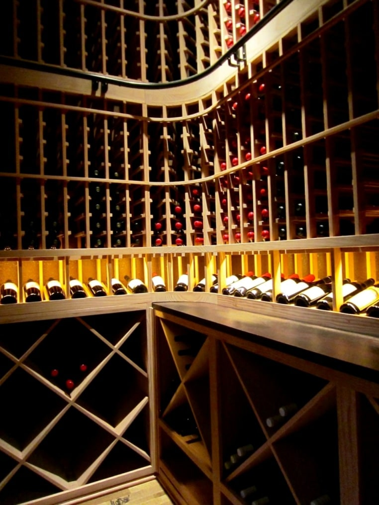 Wooden wine racks installed in a home wine cellar by San Francisco Builders
