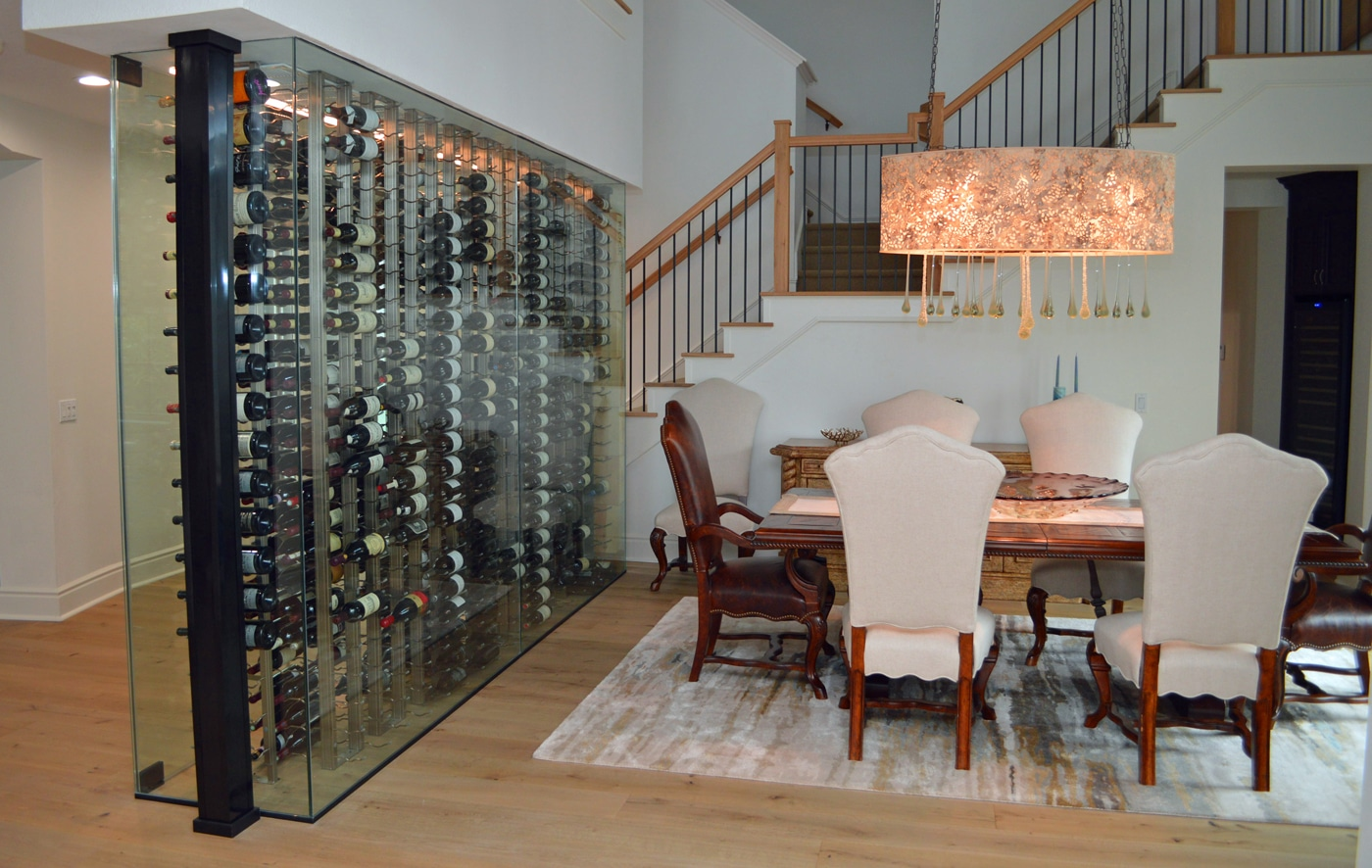 Designing And Building A Contemporary Glass Residential Wine Wall